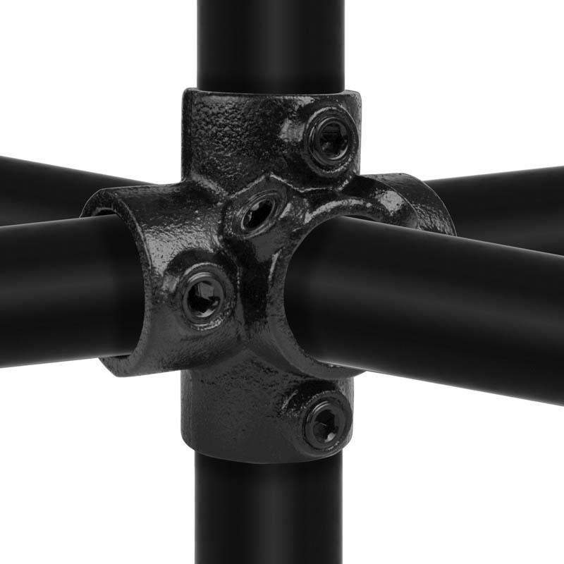 """Kreuzstück für Stützrohr. 4-Richtungs-Verbinder, schwarz 26,9 mm (¾"""")"""