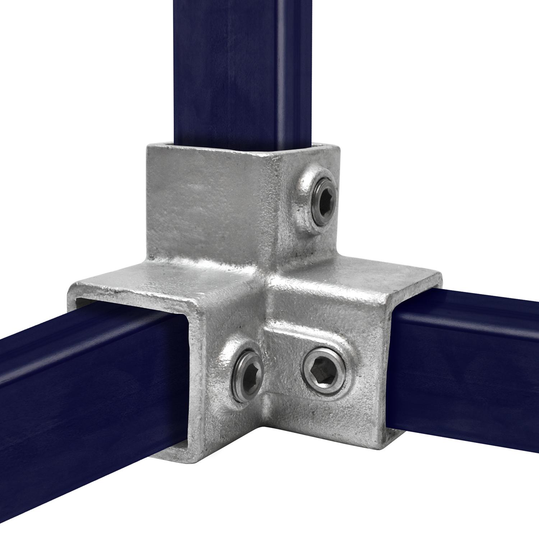 Dreiweg-Eckstück - 90° für quadratische Rohre - 40 mm