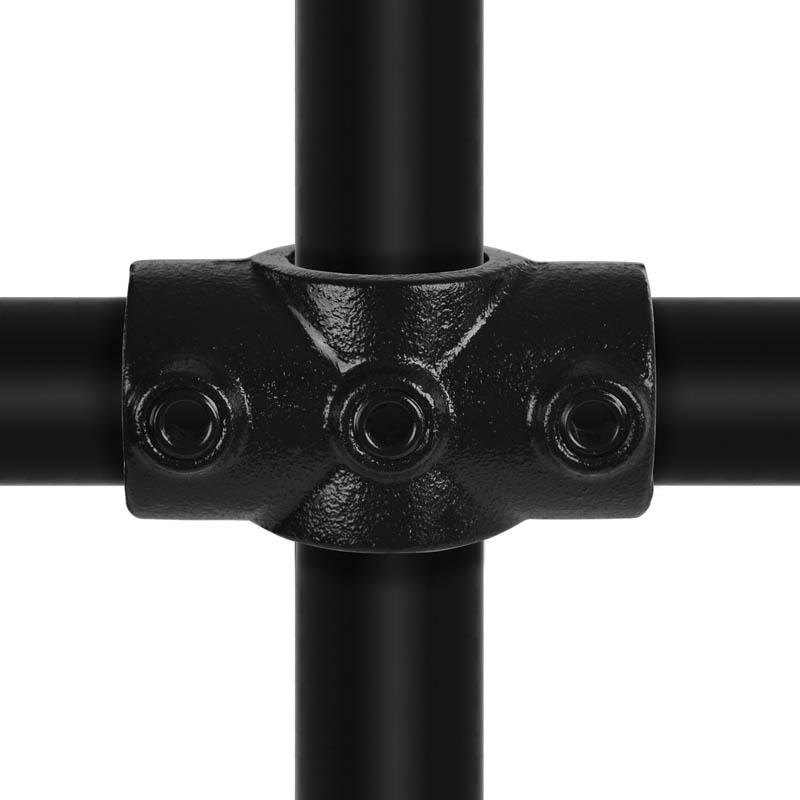 """Kreuzstück, durchgehend schwarz, 90°- Verbindungsschelle 21,3 mm (½"""")"""